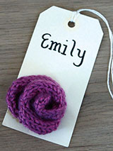 Party Gift Tags Knitted Flowers