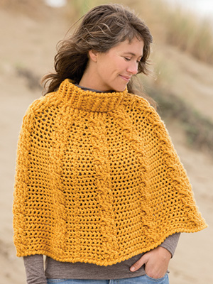 Textured Cable Poncho